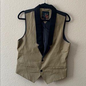 Men's Guess Gold and black Dress Vest Size M